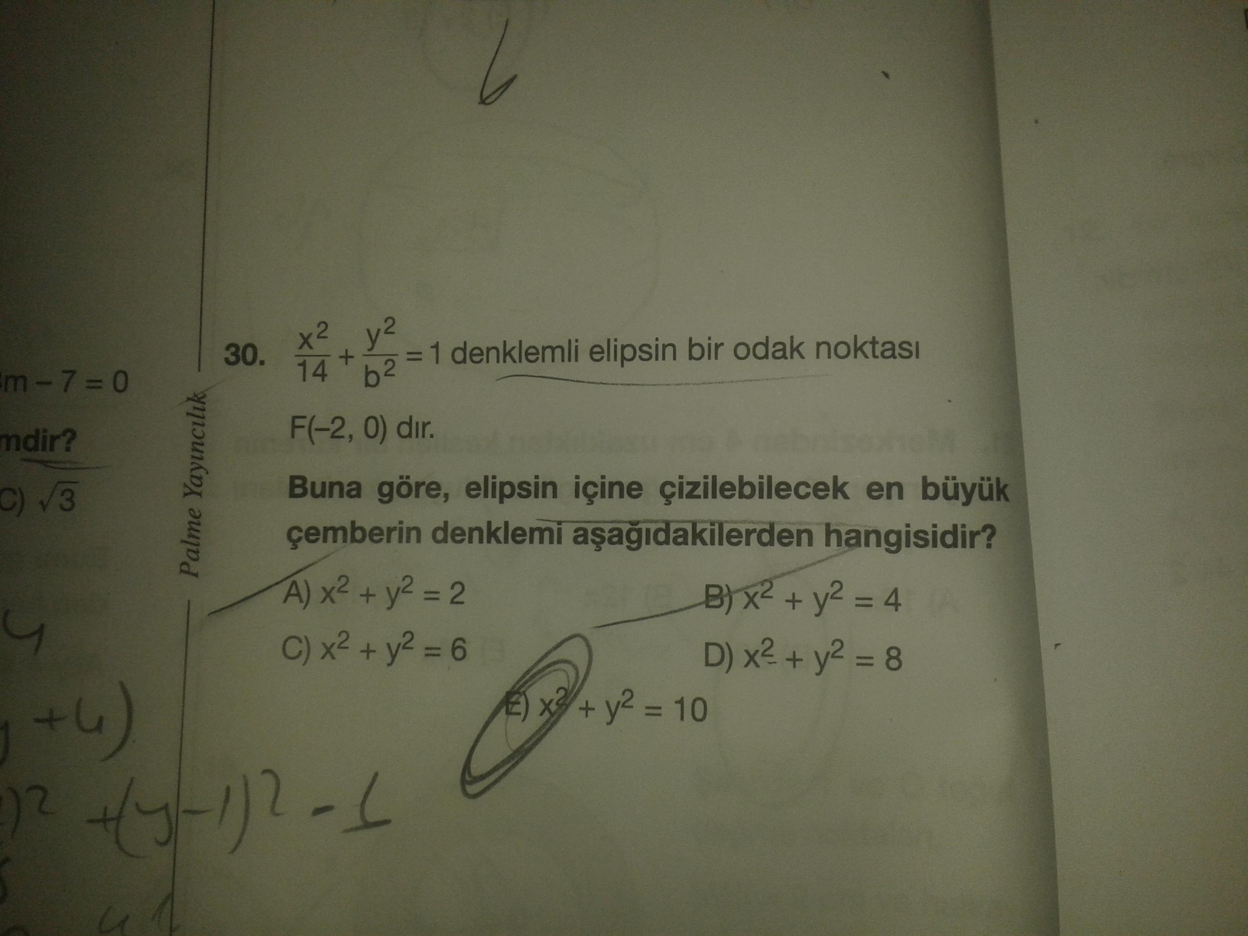 Elips yedek cember denklemi