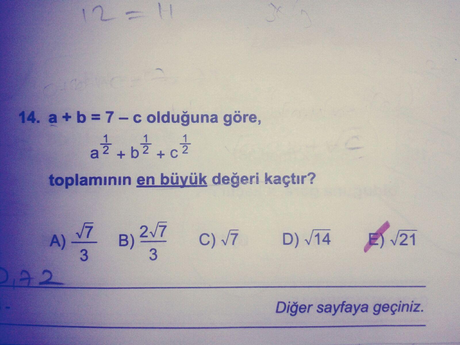 a+b+c=7