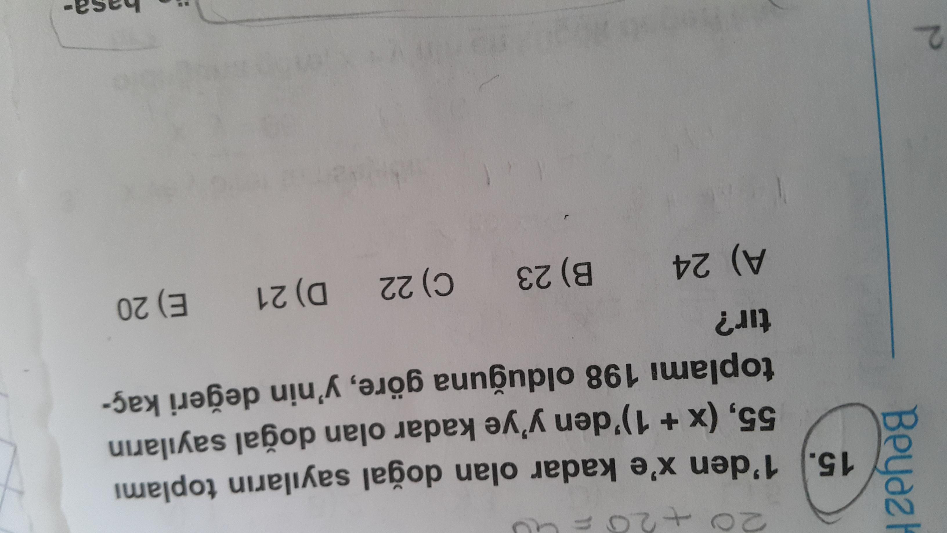 1 den x e kadar